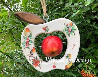 Apple Feeder, Bird Feeder, Outdoors, Robin, Garden, Christmas Gift, Handmade