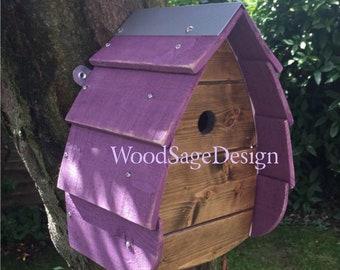 Purple Wooden Bird House, Outdoor Birdhouse, Garden