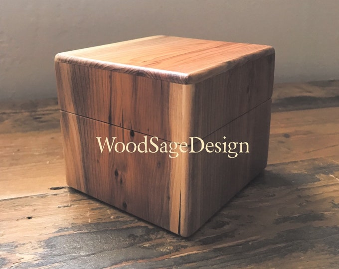 Featured listing image: Wooden Box, Jewellery Box, Memory Box, Yew Tree Wood, Small Wooden Box