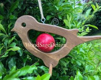 Wooden Apple Bird Feeder, Robin, Bird Feeders, Outdoors, Garden Gift