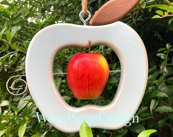 Shabby Chic Duck Egg Blue Wooden Apple Feeder, Bird Feeder, Garden, Outdoors, Gift, Birdfeeders