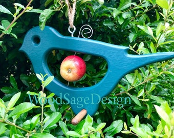 Green Wooden Apple Bird Feeder, Garden,  Outdoors, Gift, Apple, Seed, Feeder