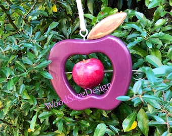 Bird Feeder, Apple Feeder, Purple, Wooden, Outdoors, Garden Gift