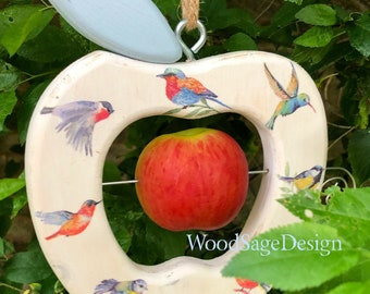 White Decoupage Wooden Apple Bird Feeder for Outdoors
