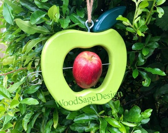 Apple Green Wooden Bird Feeder