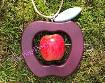 Purple Wooden Apple Feeder, Bird Feeder Outdoor, Bird, Garden