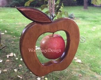 Wooden Apple Bird Feeder