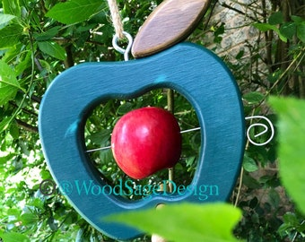 Green Wooden Apple Bird Feeder, Outdoors, Garden, Birdfeeders, Gift, Seed, Birds