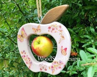Wooden Apple Bird Feeder, Decoupage, Outdoors, Garden Gift
