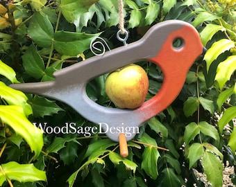 Bird Feeder, Apple Feeder, Robin, Wooden, Outdoors, Garden Gift