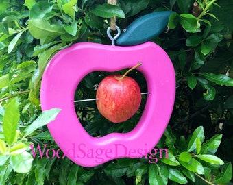 Pink Wooden Apple Bird Feeder