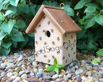 Bird House, Bumblebee, Bird Houses, Wood, Garden Gift, Outdoors, Handmade, Decoupage