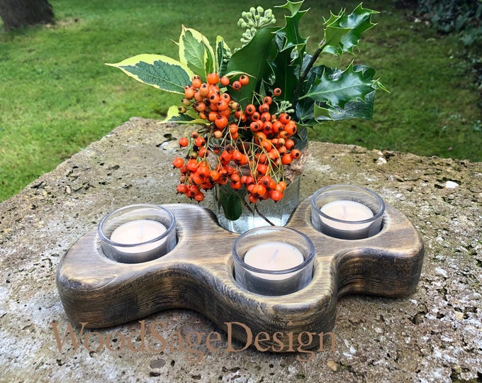 Featured listing image: Wooden Tealight Candle Holder, Candlestick Holder
