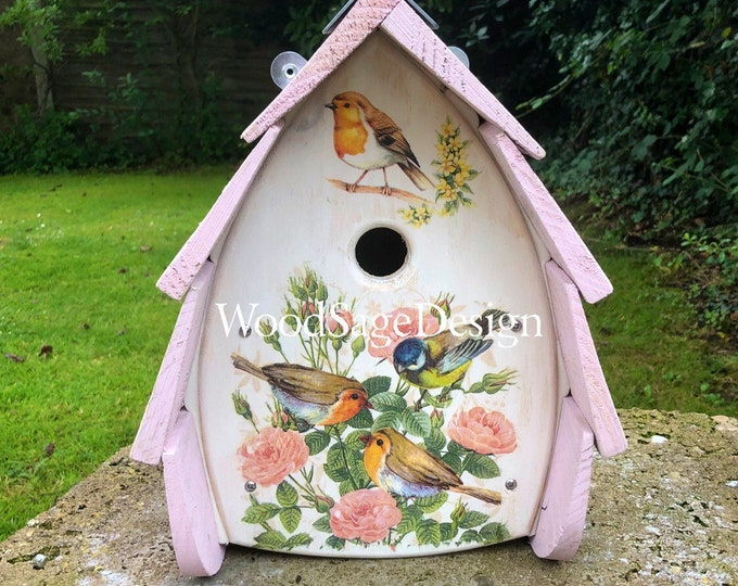 Featured listing image: Decoupage Pink Shabby Chic Wooden Handmade Bird House, Birdhouse for Outdoors, Garden, Gift, Birds