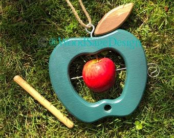 Apple Bird Feeder, Wooden, Outdoors, Garden Gift, Seed