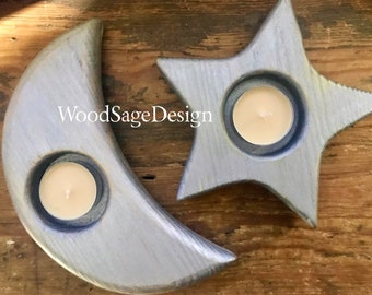 Wooden Tea Light Candle Holders, Silver, Stars, Crescent Moon