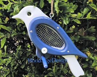 Blue Wooden Bird Feeder