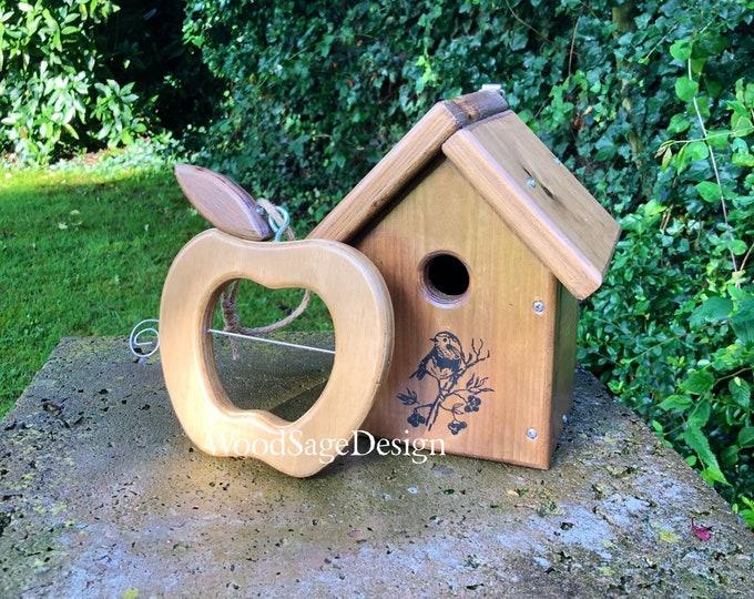 Featured listing image: Wooden Apple Bird Feeder, Wooden Bird House, Gift Set, Outdoors, Garden, Gift, Handmade