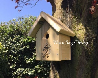 Bird House, Natural Wood Bird House, Birdhouses and Feeders, Garden Gift, Outdoors