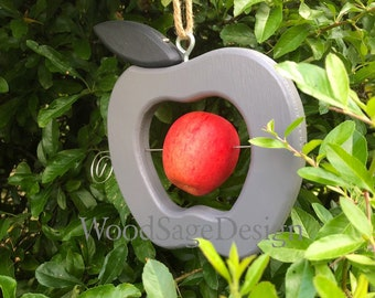 Grey Wooden Apple Bird Feeder