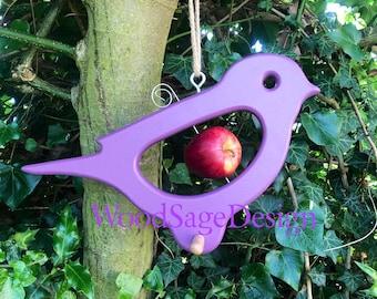 Purple Wooden Apple Bird Feeder