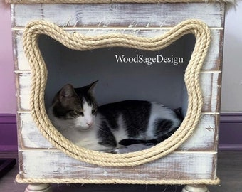White Shabby Chic Wooden Cat Bed, Cat Cottage, Cat Beds