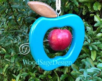 Wooden Bird Feeder, Apple Feeder, Outdoors, Garden Gift, Bird Feeders, Handmade, Blue