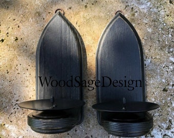 Black Gothic Wooden Candle Sconces