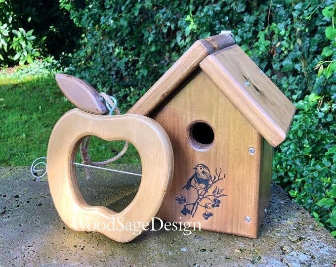 Featured listing image: Apple Bird Feeder, Bird House, Wooden, Gift Set, Outdoors, Garden, Gift
