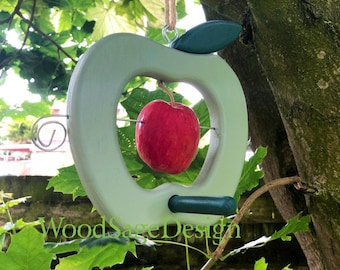 Green Wooden Apple Feeder, Birdfeeder, Outdoors, Garden, Gift, Bird, Feeders