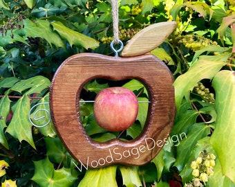 Apple Bird Feeder, Outdoors, Garden Gift, Bird Feeders, Wooden, Birdhouses and Feeders