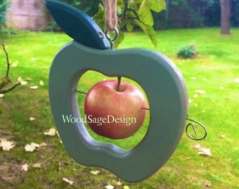 Wooden Apple Bird Feeder, Green, Outdoors, Garden Gift, Apple Feeders, Birdfeeder