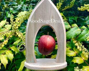 Apple Feeder, Bird Feeder, Natural Wood, Gothic, Garden Gift, Outdoors, Feeders
