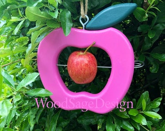 Pink Wooden Apple Bird Feeder