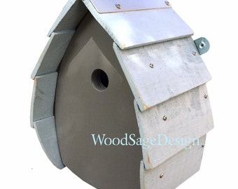 Blue Grey Wooden Bird House for Outdoors