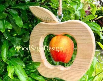 Apple Bird Feeder, Natural Wood, Outdoors, Garden Gift, Bird Feeders, Feeders