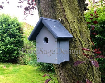 Grey Wooden Bird House, Outdoors, Birdhouses, Garden, Gift, Wildlife, Seed, Apple, Birds