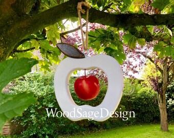 White Apple Feeder, Bird Feeders, Wood, Outdoors, Garden, Christmas Gift, Handmade