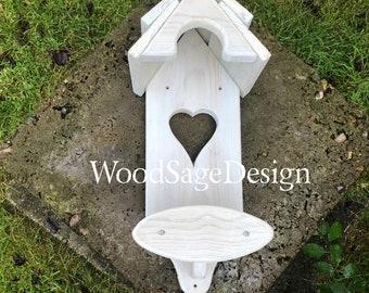 White Wooden Candle Holder, Plant Holder, Shabby Chic, Wooden Shelf, Garden, Christmas Gift