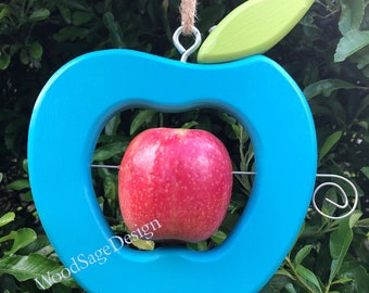 Summer Blue Wooden Apple Bird Feeder