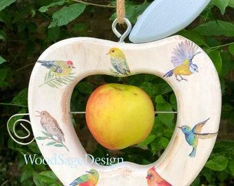White Decoupage Wooden Apple Bird Feeder for Outdoors