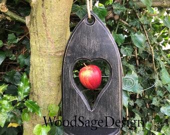 Gothic Black Wooden Apple Feeder