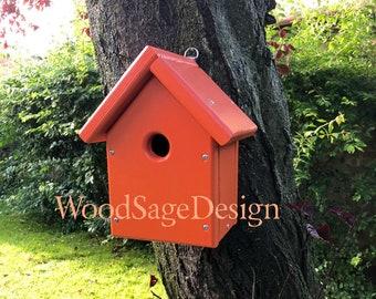 Orange Wooden Bird House, Outdoors, Garden
