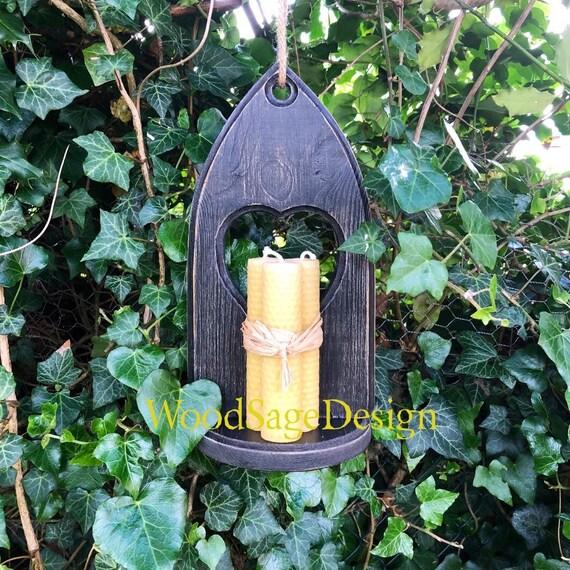 Black Wooden Gothic Candle Shelf, Handmade, Garden, Home, Candles, Gift
