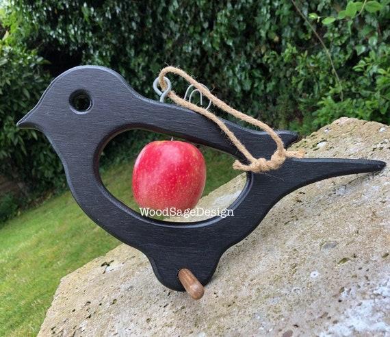 Black Wooden Bird Feeder, Red Apple Feeder, Outdoors, Garden, Bird, Seed