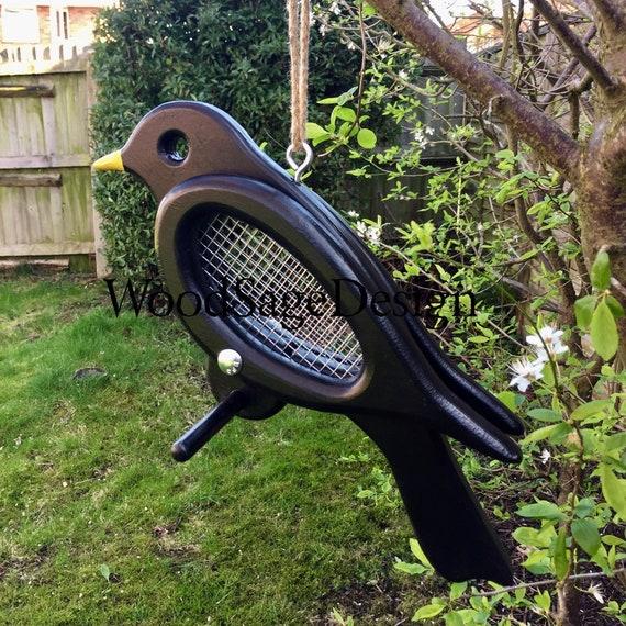 Black Wooden Outdoor Bird Feeder, Garden, Gift, Handmade