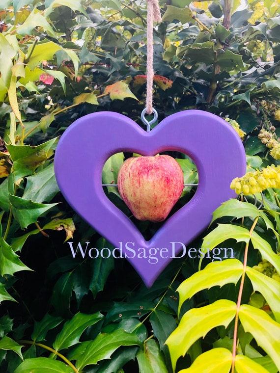 Apple Bird Feeder, Purple Heart, Bird Feeders, Outdoors, Garden Gift, Wooden, Feeders and Birdhouses