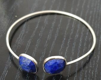 d0f05c9b8062 925 sterling silver laps lazuli gemstone bangles   cushion bangle   bezel  set solid silver bracelet   stackable bracelet Jewelry