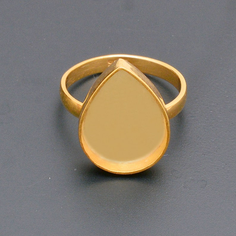 925 sterling silver gold plated pear bezel cup ring for gemstone setting