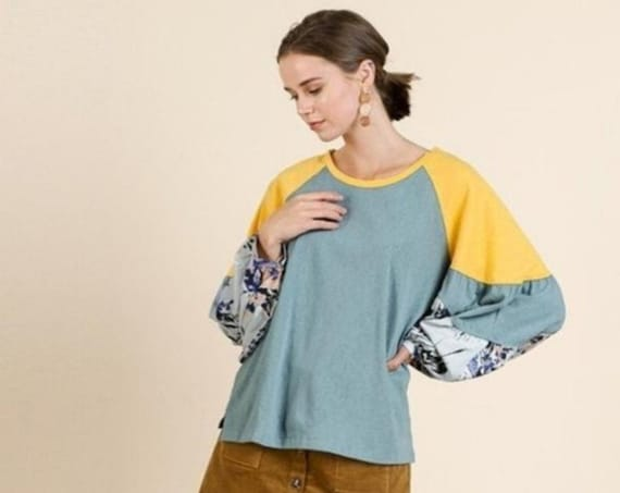 Bohemian Blouse - Umgee Floral Print Long Puff Sleeve Color Blocked Slub Knit Top - Casual Wear for Women